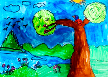 A colourful drawing of a bird sitting in a tree