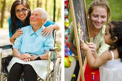 2 images - one of a agedcare worker and the other of a childcare worker