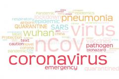 Word cloud featuring key words associated with Coronavirus