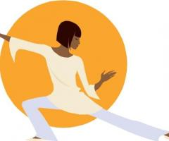 Drawing of woman doing Tai Chi