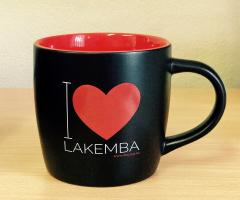 A photo of the new Mug in black and red
