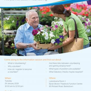 Copy of the promotional flyer which includes a man in a wheelchair and a woman talking over a box of seedling plants