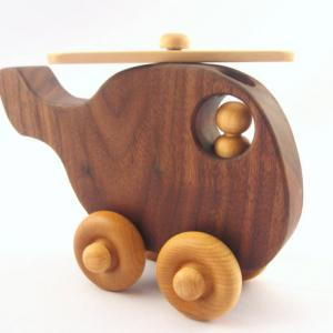 Hand crafted toy wooden helicopter