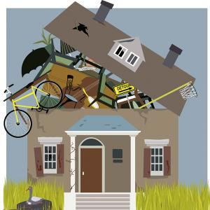 Illustration of a house's roof exploding from hoarding