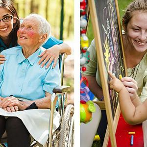 two images of a woman helping an elderly person and the second of a woman smiling with a child who is painting